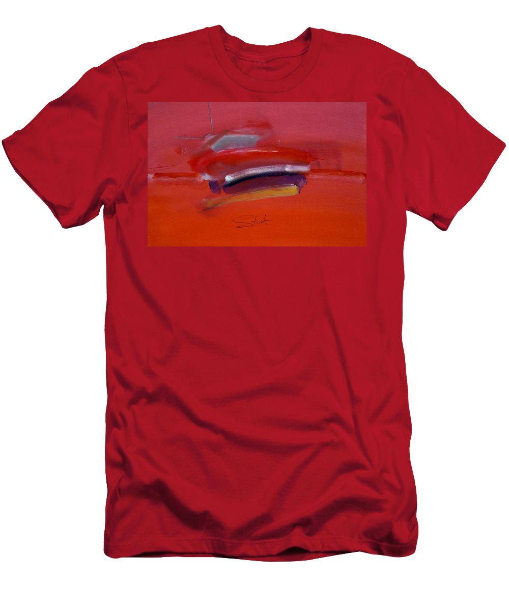 Fishing Boats Men's T-Shirt (Athletic Fit) featuring the painting Red Trawler by Charles Stuart