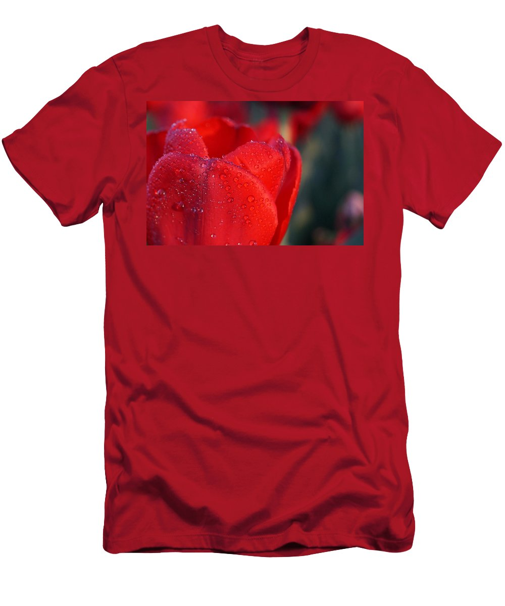 Red Men's T-Shirt (Athletic Fit) featuring the photograph Red Tulip by Beth Collins
