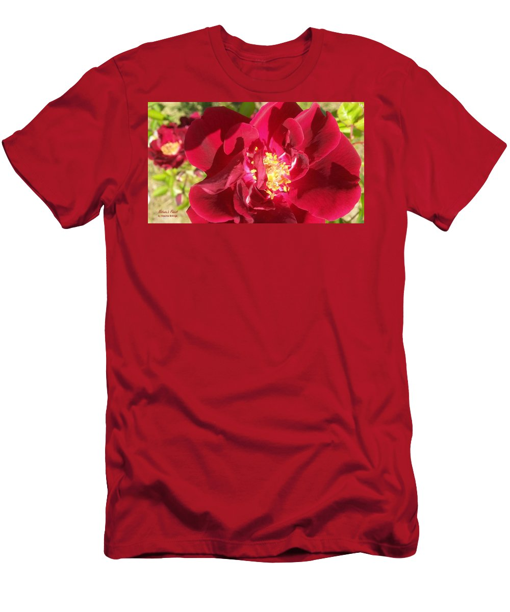 Roses Men's T-Shirt (Athletic Fit) featuring the photograph Red Velvet Roses by Maxine Billings