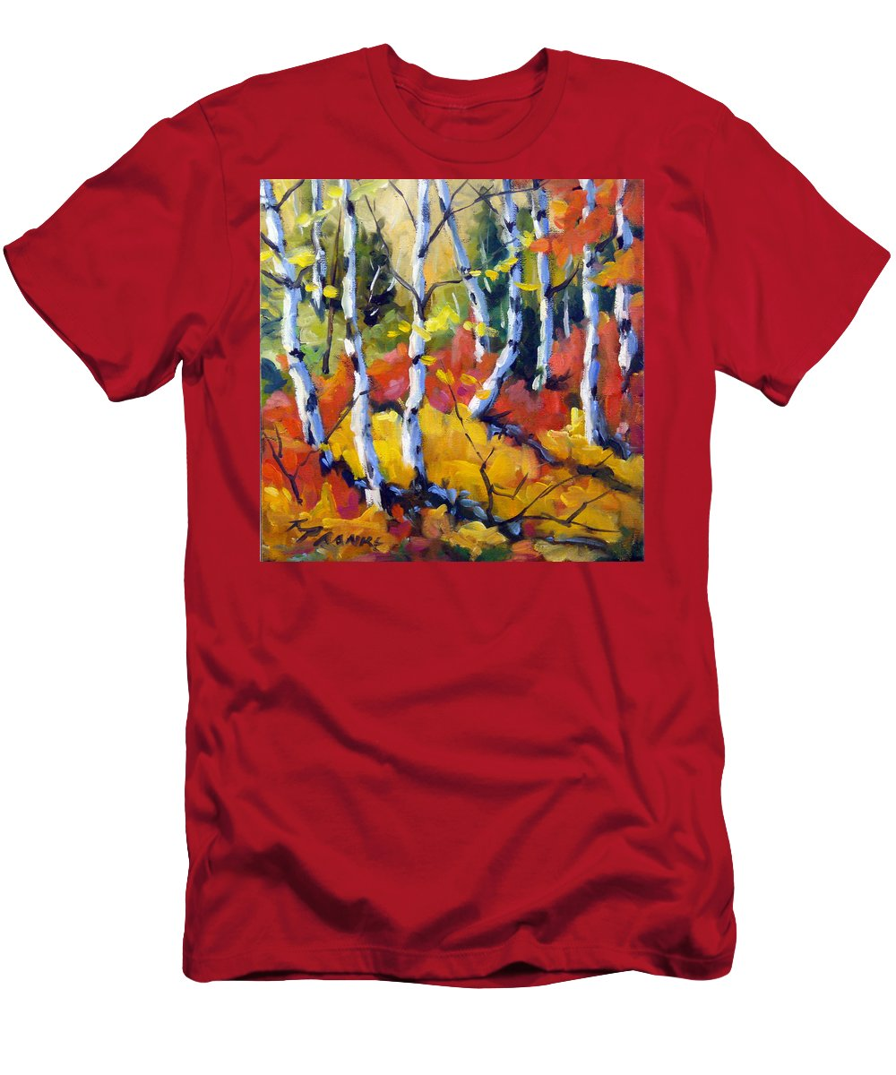 Art Men's T-Shirt (Athletic Fit) featuring the painting Red White Gold by Richard T Pranke