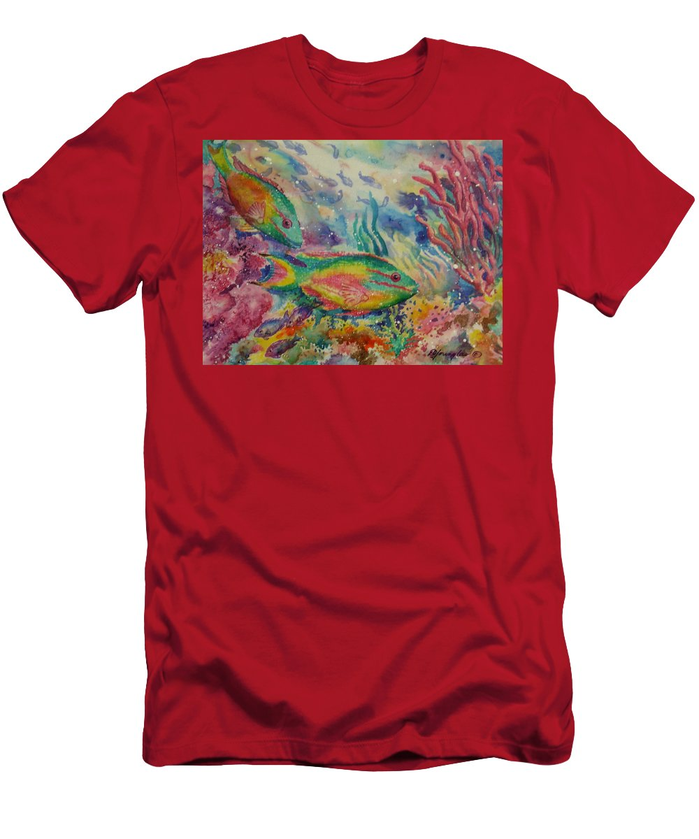 Fish Men's T-Shirt (Athletic Fit) featuring the painting Redband Parrotfish by Deborah Younglao