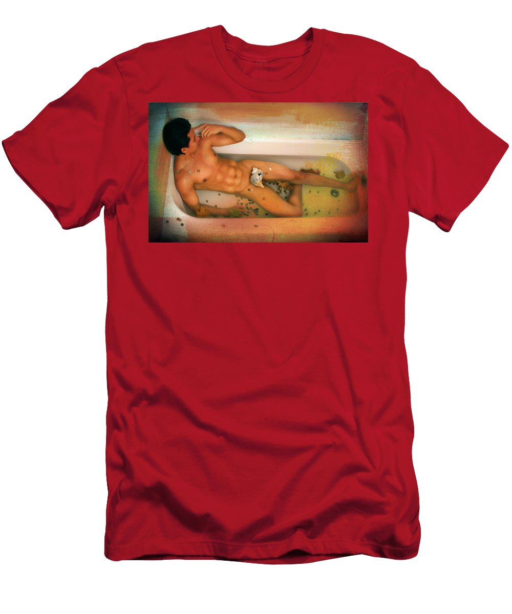 Artistic Nude Men's T-Shirt (Athletic Fit) featuring the photograph Reflections by Mark Ashkenazi