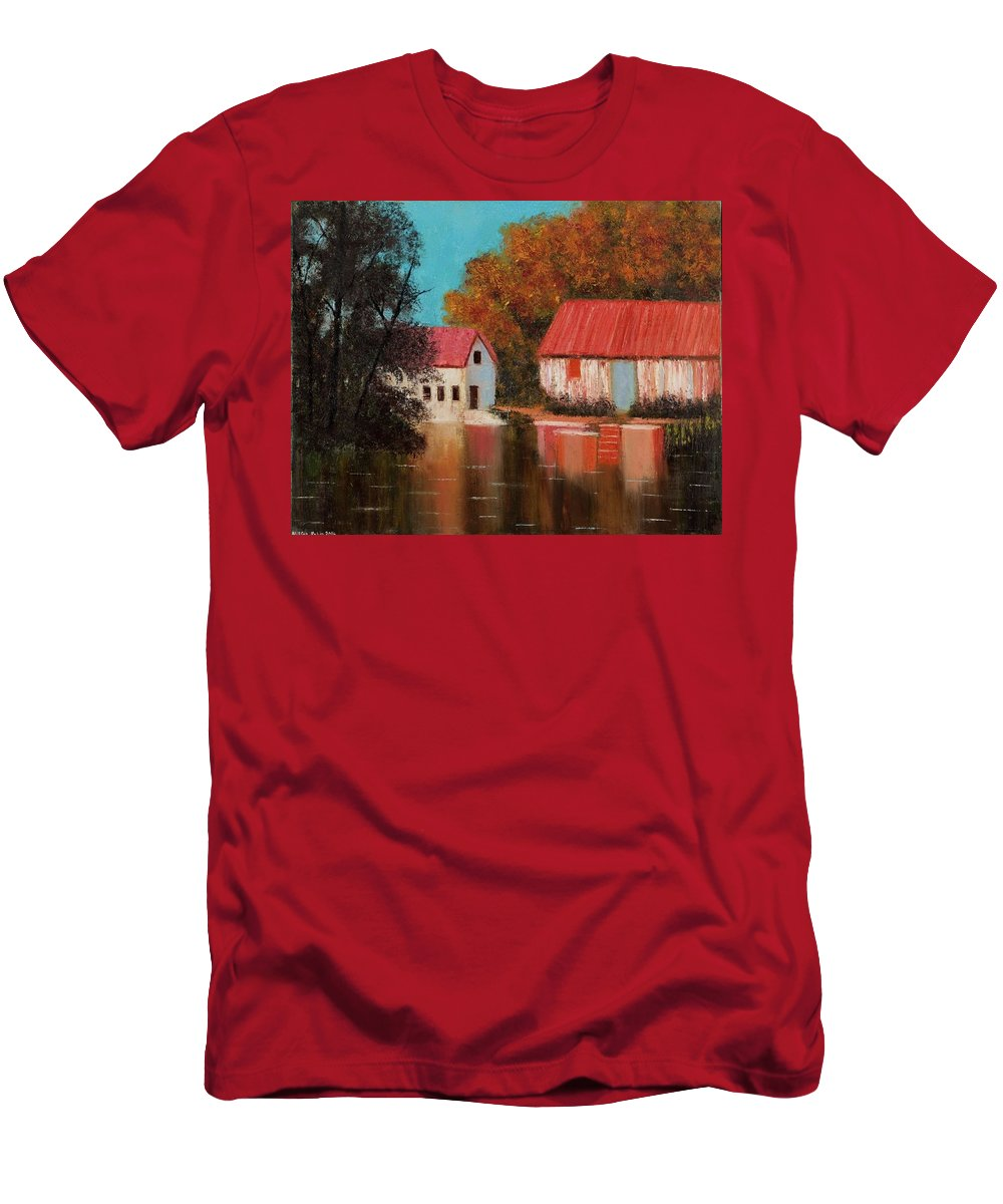 Landscape Men's T-Shirt (Athletic Fit) featuring the painting Reflections by Nissan Rabin
