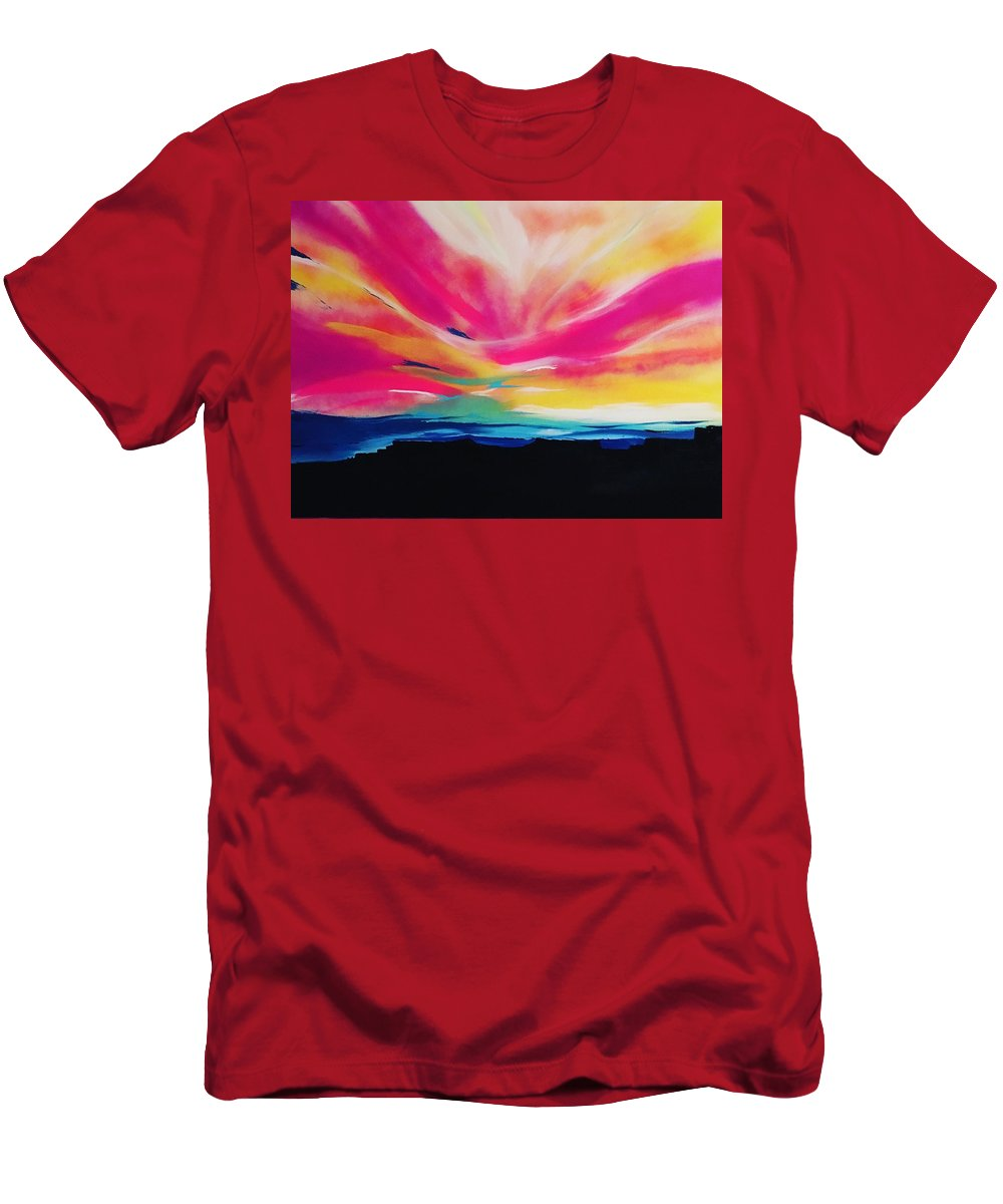 Landscape Men's T-Shirt (Athletic Fit) featuring the painting Reservation Sunset by Antoinette Thompson