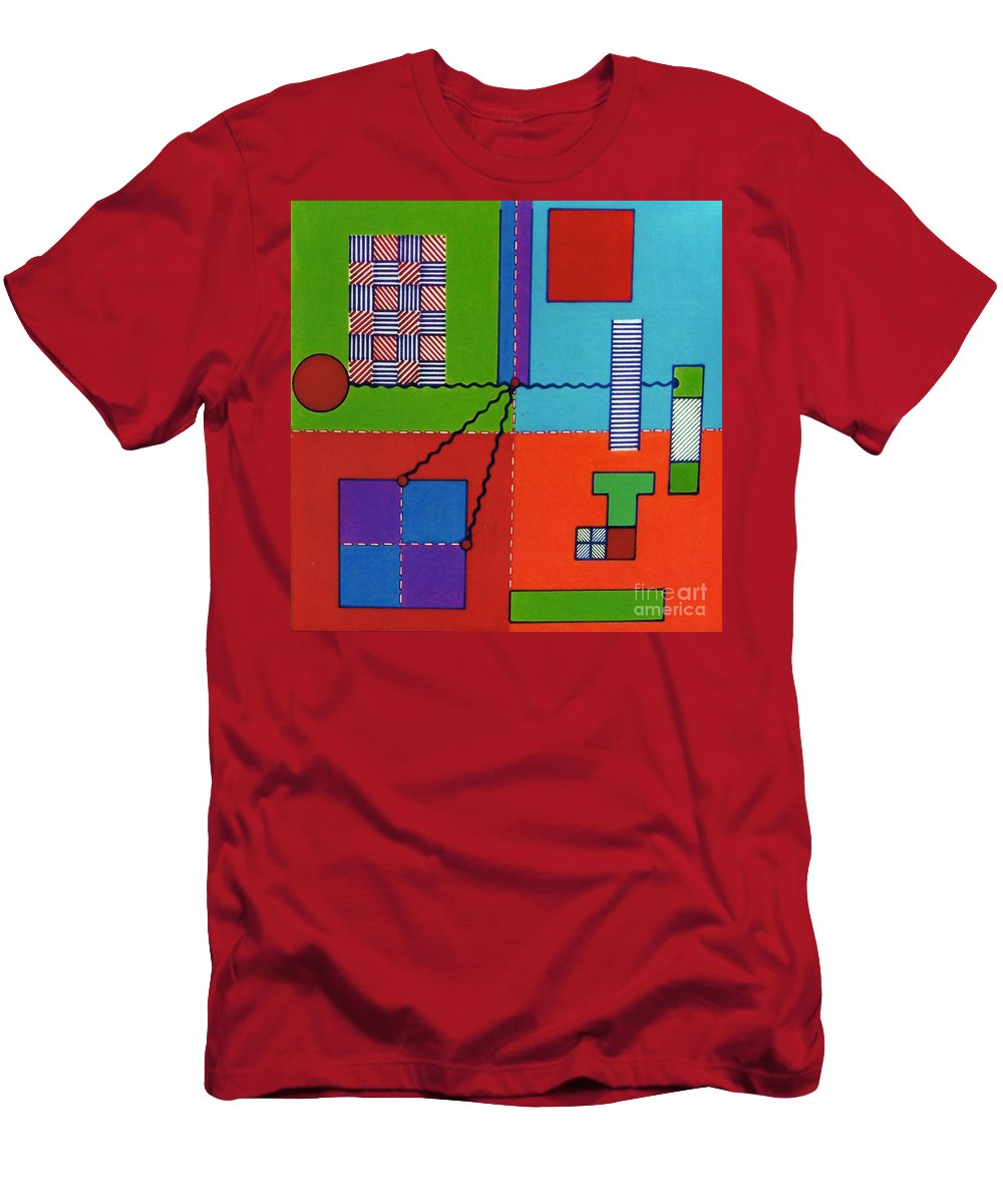 Four Square Men's T-Shirt (Athletic Fit) featuring the drawing Rfb0552 by Robert F Battles