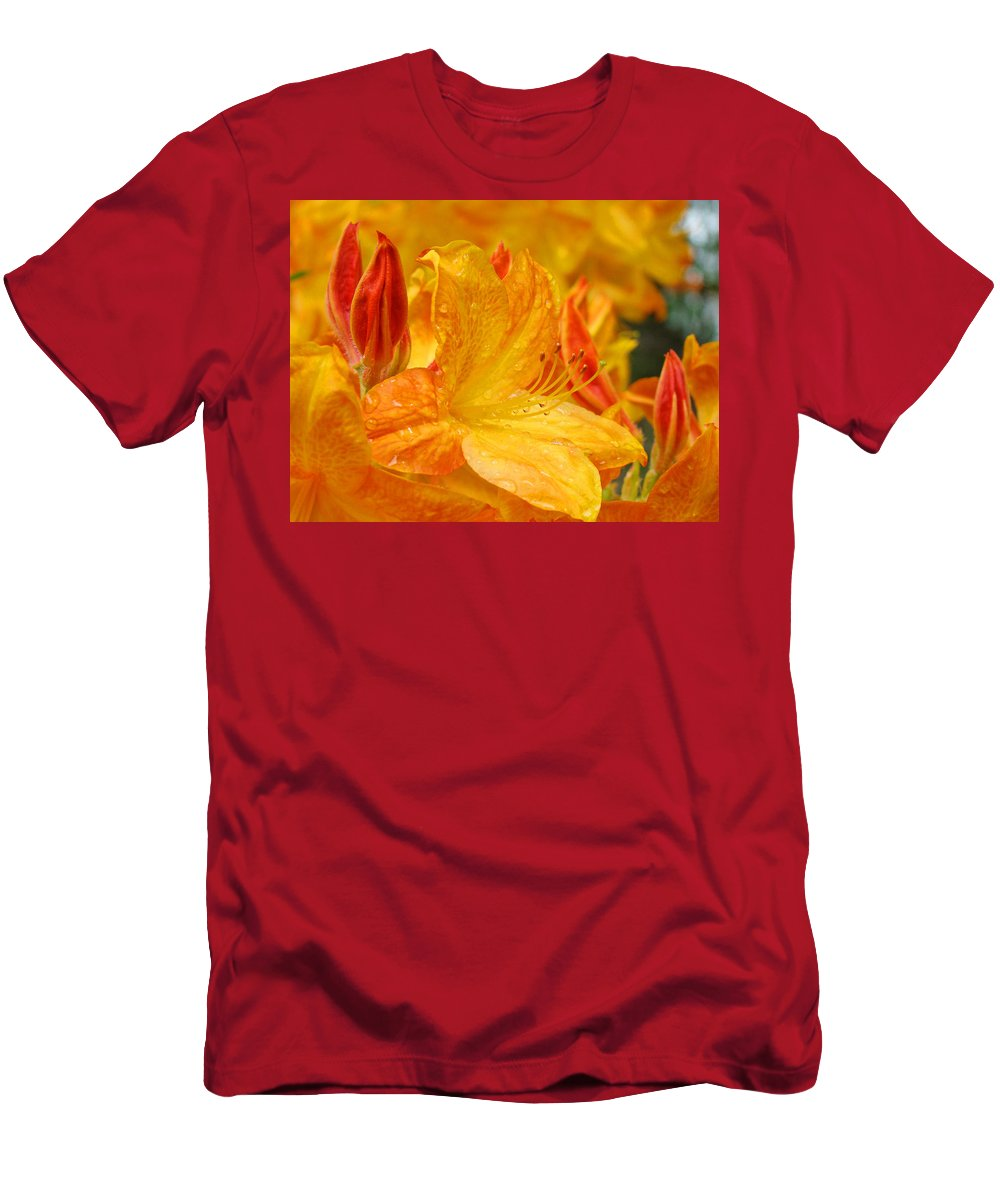 Rhodie Men's T-Shirt (Athletic Fit) featuring the photograph Rhodies Orange Yellow Rhododendrons Art Prints Canvas Baslee Troutman by Baslee Troutman