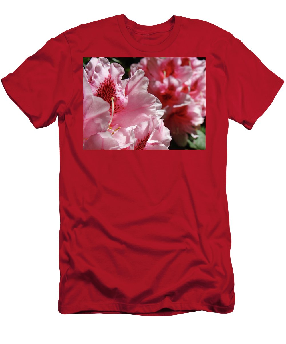 Rhodie Men's T-Shirt (Athletic Fit) featuring the photograph Rhododendrons Art Prints Floral Pink Rhodies Canvas Baslee Troutman by Baslee Troutman