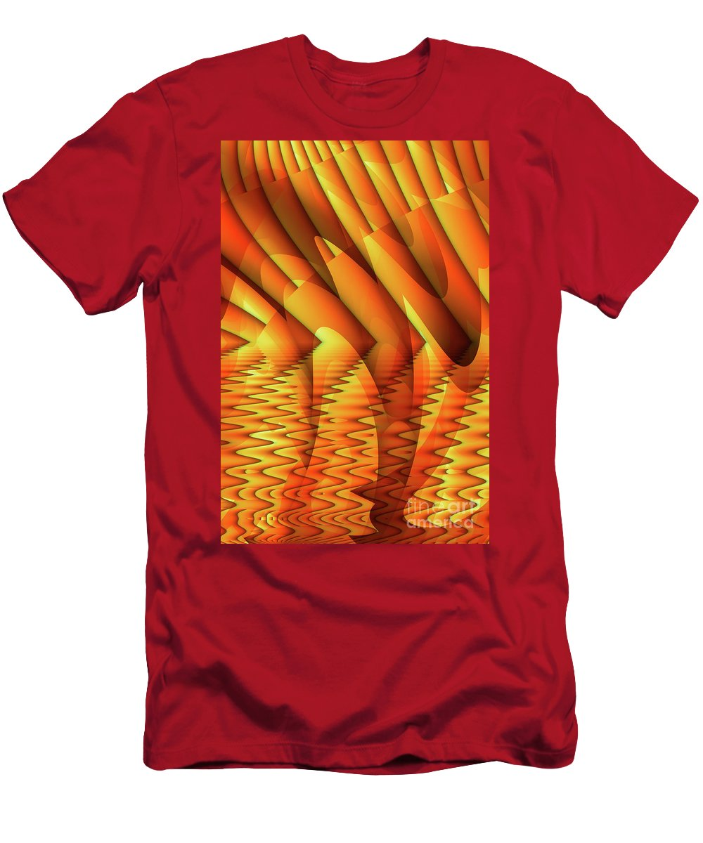 Pool Men's T-Shirt (Athletic Fit) featuring the digital art Ripples In Gold by John Edwards