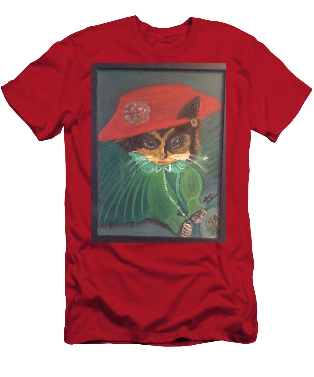 Cat Men's T-Shirt (Athletic Fit) featuring the painting Rita Cat by Lureen Calcara