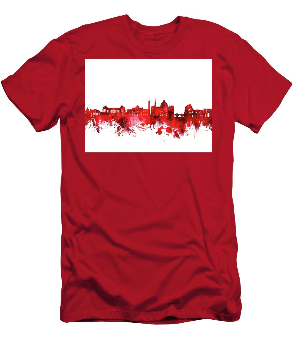 Rome Men's T-Shirt (Athletic Fit) featuring the digital art Rome City Skyline Wateroclor Red by Bekim M