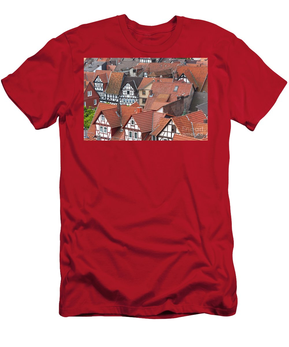 Deutschland Men's T-Shirt (Athletic Fit) featuring the photograph Roofs Of Bad Sooden-allendorf by Heiko Koehrer-Wagner