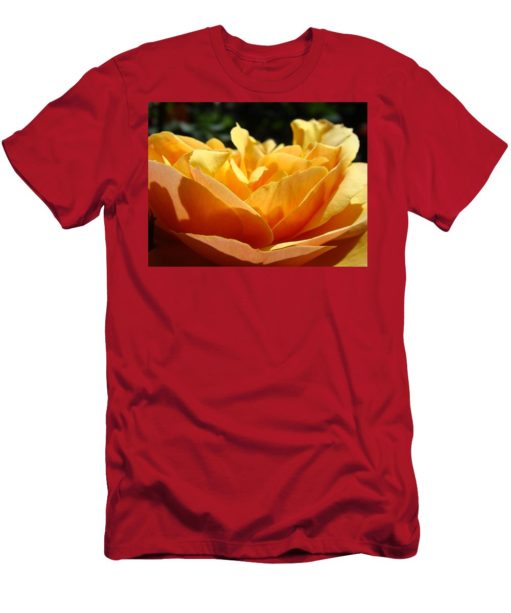 Rose Men's T-Shirt (Athletic Fit) featuring the photograph Rose Sunlit Orange Rose Garden 7 Rose Giclee Art Prints Baslee Troutman by Baslee Troutman