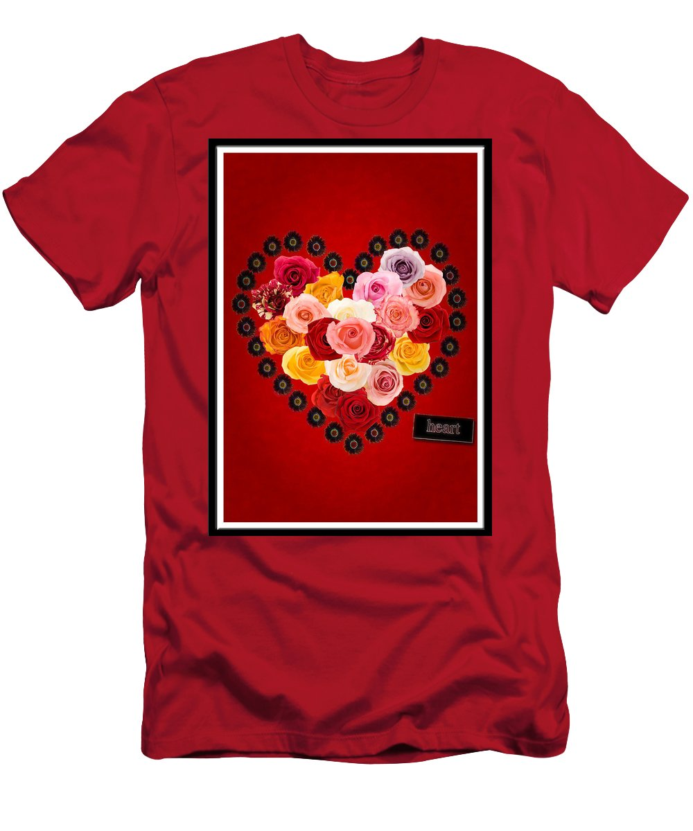 Valentines Day Men's T-Shirt (Athletic Fit) featuring the photograph Roses For My Dear Love by Lisa Knechtel