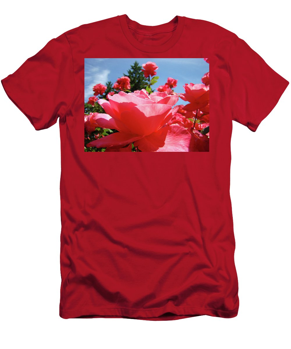Rose Men's T-Shirt (Athletic Fit) featuring the photograph Roses Pink Rose Landscape Summer Blue Sky Art Prints Baslee Troutman by Baslee Troutman