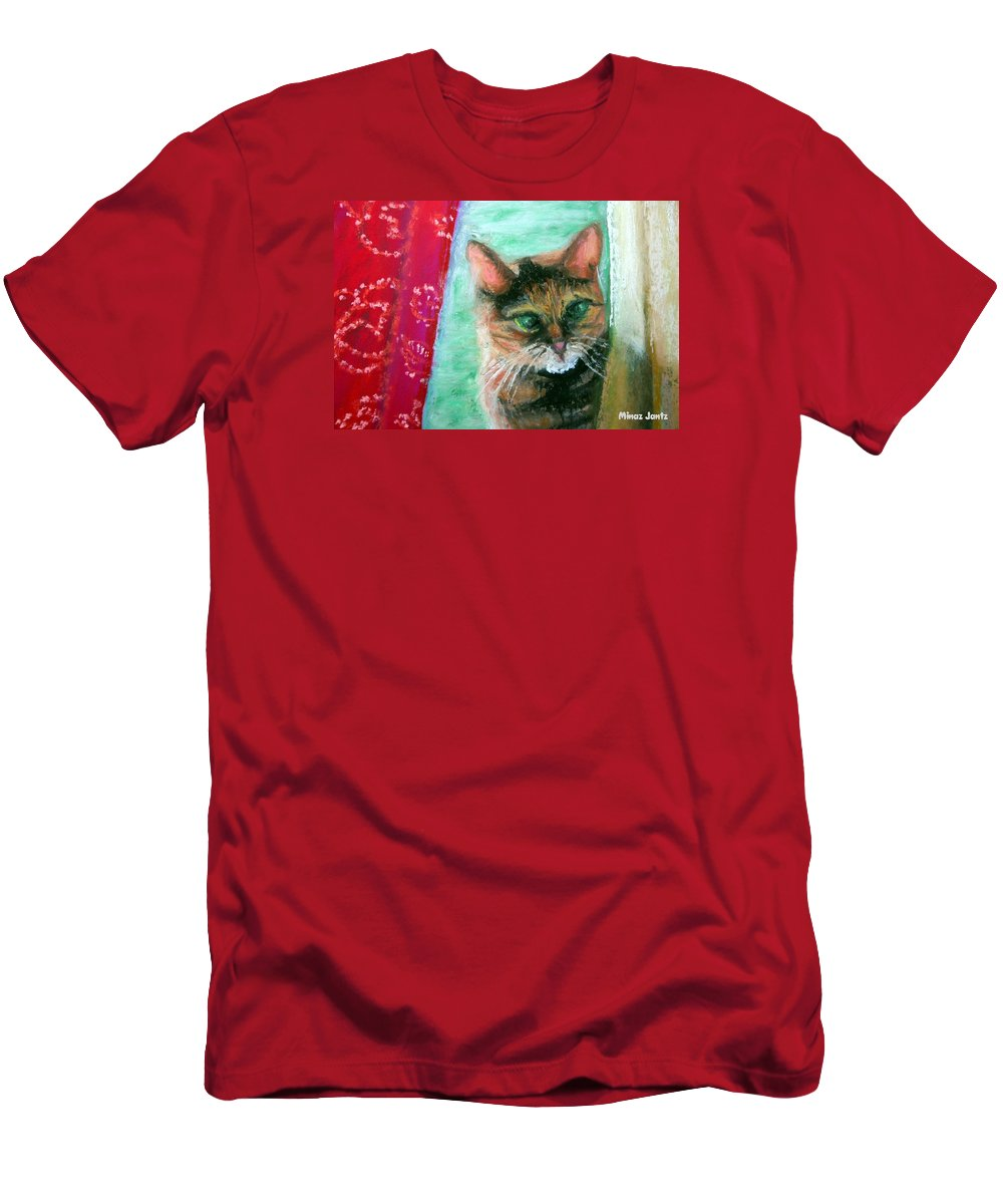 Cat Men's T-Shirt (Athletic Fit) featuring the painting Rosy In Color by Minaz Jantz