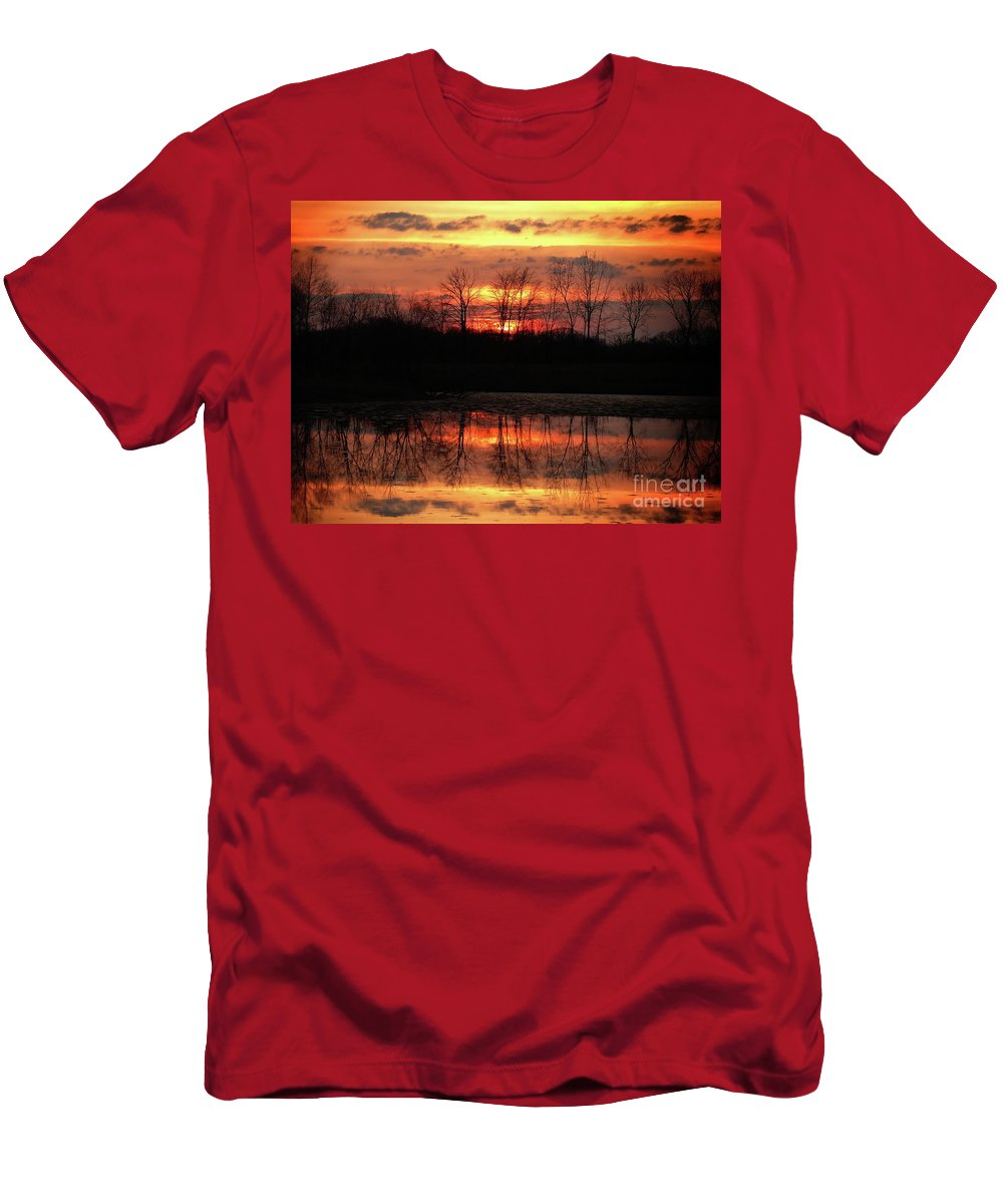 Rose Men's T-Shirt (Athletic Fit) featuring the photograph Rosy Mist Sunrise by Scott B Bennett