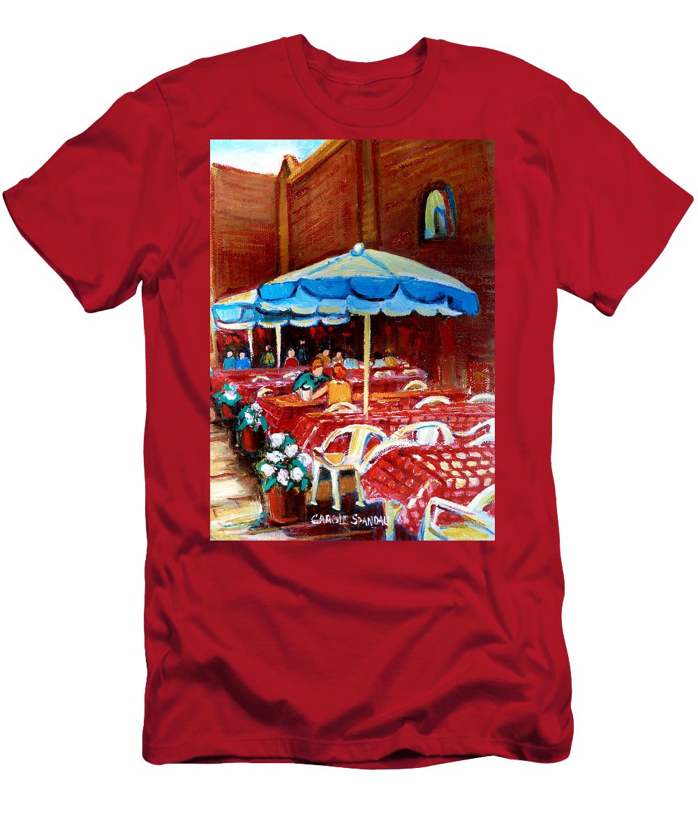 Rue Prince Arthur Men's T-Shirt (Athletic Fit) featuring the painting Rue Prince Arthur by Carole Spandau