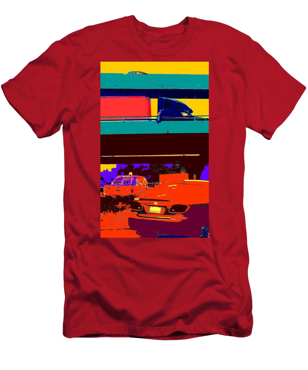 Cars Men's T-Shirt (Athletic Fit) featuring the digital art Rushing To Nowhere by Ian MacDonald