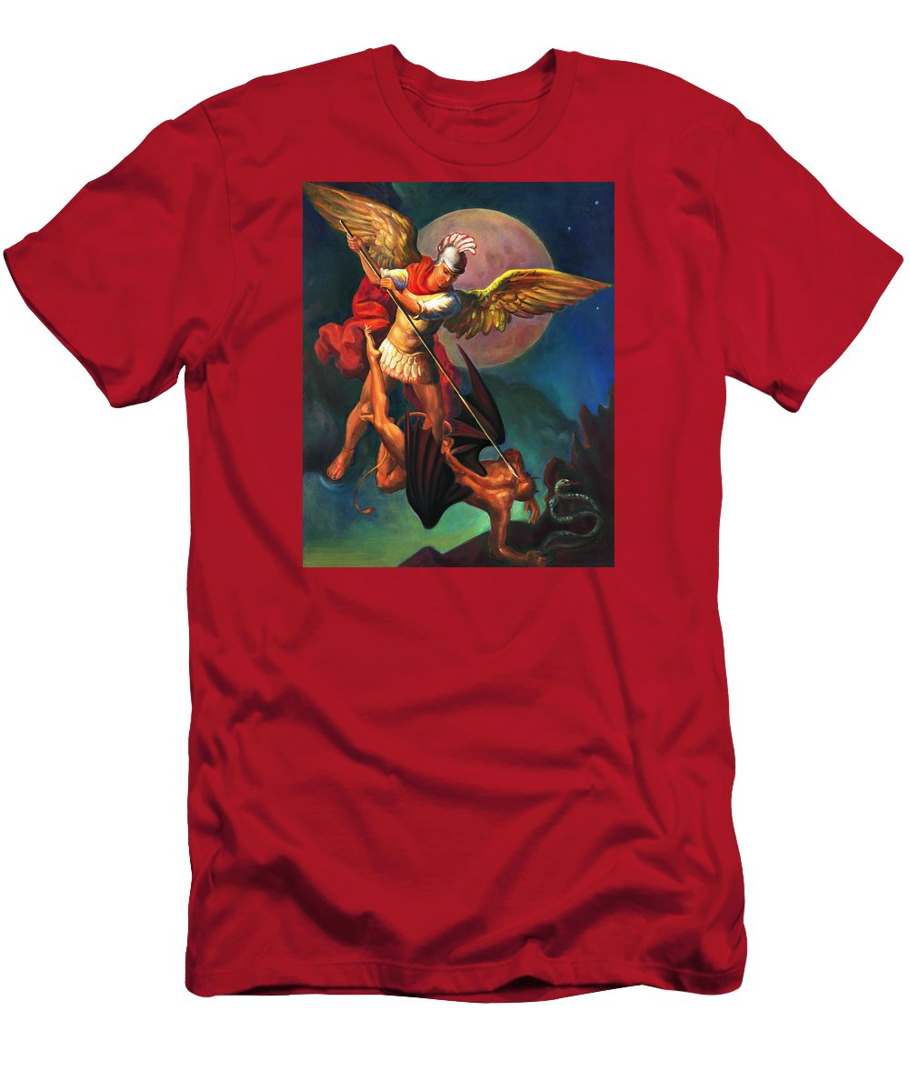 Bible Men's T-Shirt (Athletic Fit) featuring the painting Saint Michael The Warrior Archangel by Svitozar Nenyuk