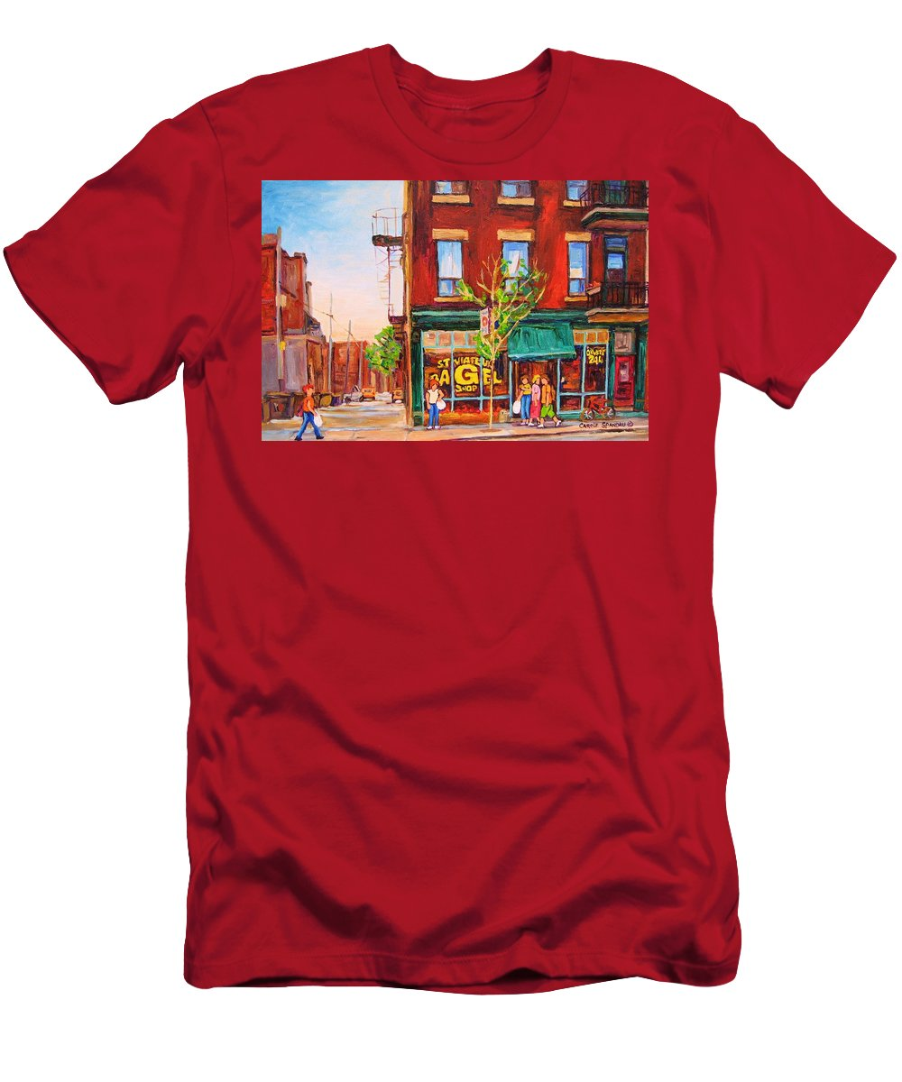 Montreal Men's T-Shirt (Athletic Fit) featuring the painting Saint Viateur Bagel by Carole Spandau