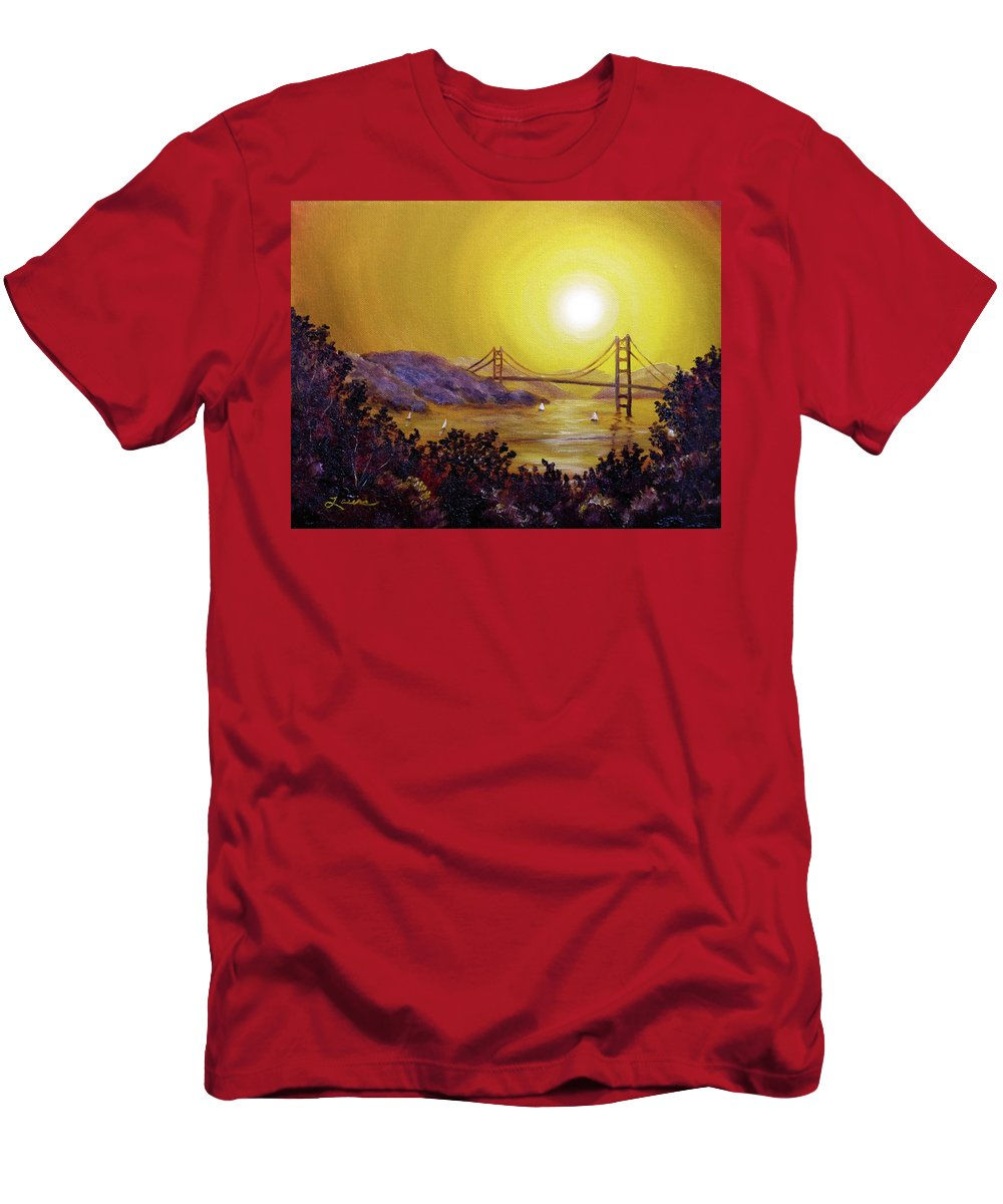 San Francisco Men's T-Shirt (Athletic Fit) featuring the painting San Francisco Bay In Golden Glow by Laura Iverson