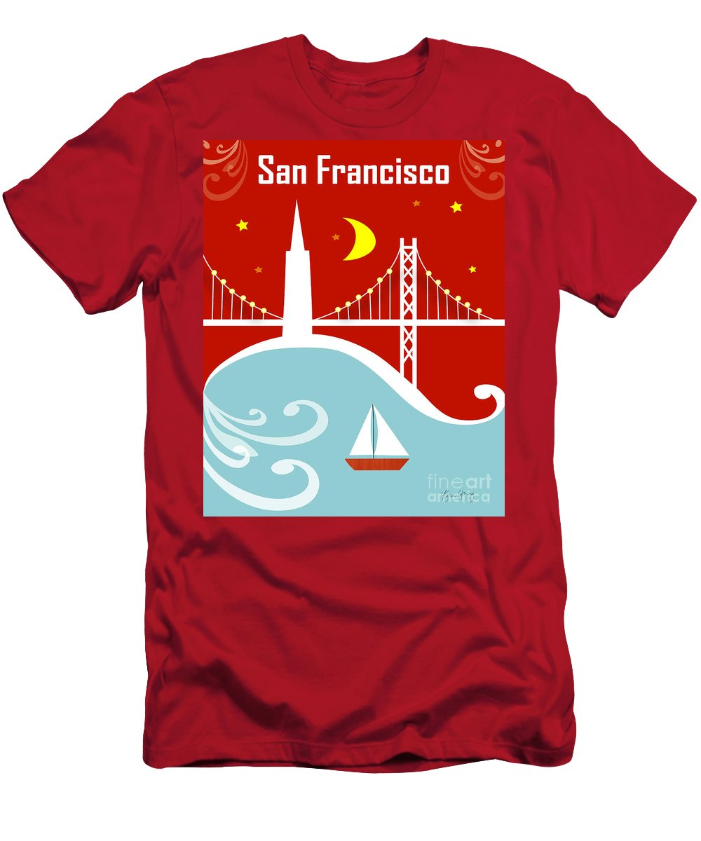 San Francisco Men's T-Shirt (Athletic Fit) featuring the digital art San Francisco California Vertical Scene - East Bay Bridge And Boat by Karen Young