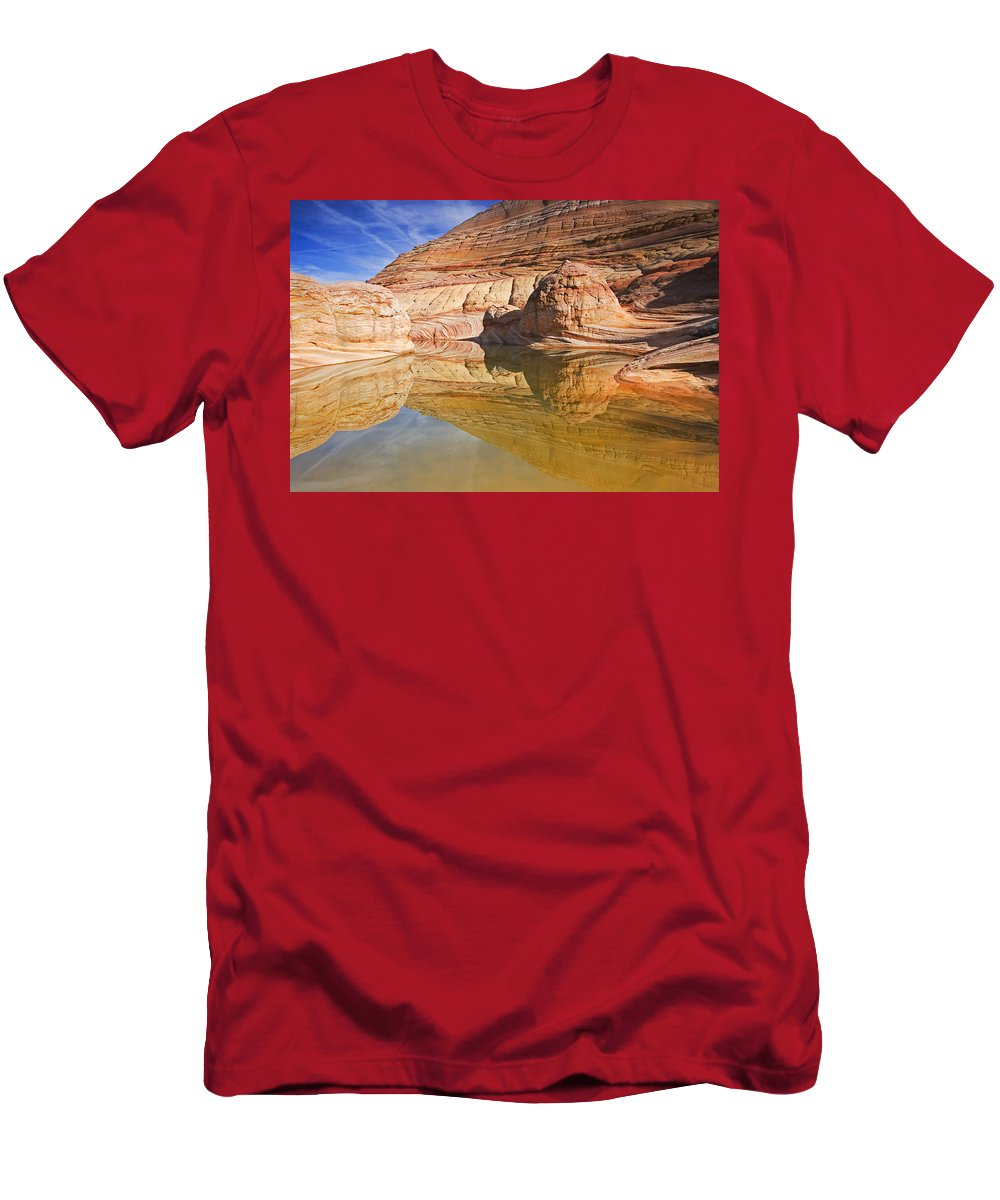 Pool Men's T-Shirt (Athletic Fit) featuring the photograph Sandstone Illusions by Mike Dawson
