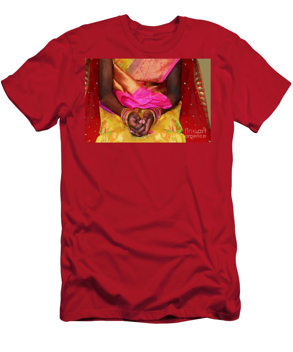 Sari Men's T-Shirt (Athletic Fit) featuring the digital art Sari Ceremony by Maggie Magee Molino