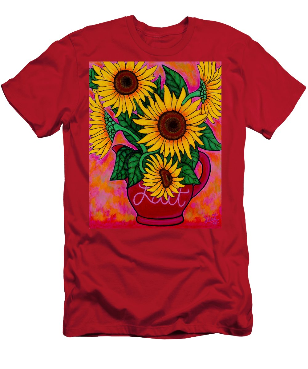 Sunflowers Men's T-Shirt (Athletic Fit) featuring the painting Saturday Morning Sunflowers by Lisa Lorenz