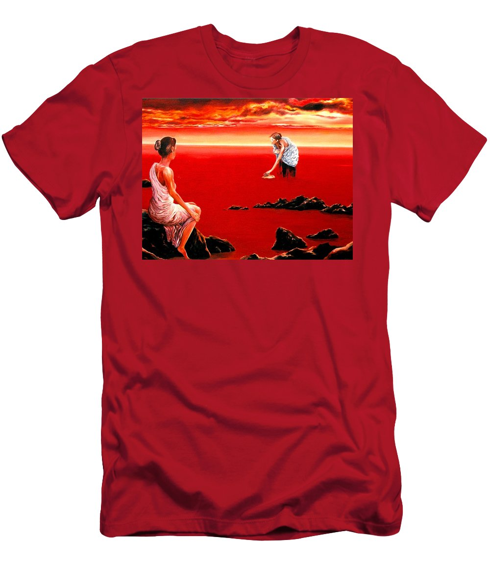 Red Men's T-Shirt (Athletic Fit) featuring the painting Scarlet Evening In December by Mark Cawood
