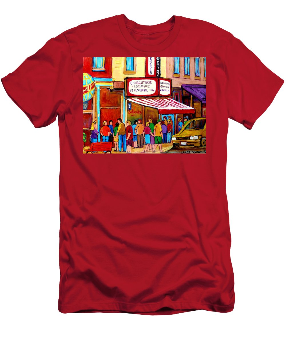 Schwartzs Deli Men's T-Shirt (Athletic Fit) featuring the painting Schwartzs Hebrew Deli Montreal Streetscene by Carole Spandau