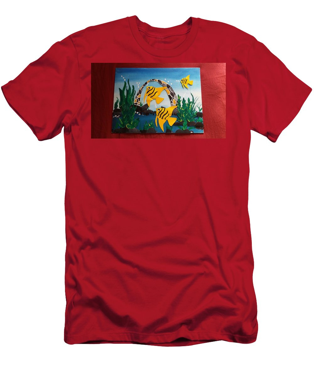 Yellow Fishes With Wavy Stripes . Men's T-Shirt (Athletic Fit) featuring the painting Sea World by Sandali Natekar