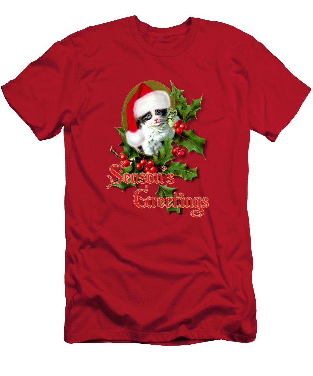 Seasons Greetings Men's T-Shirt (Athletic Fit) featuring the mixed media Seasons Greetings - Kitten by Gravityx9 Designs