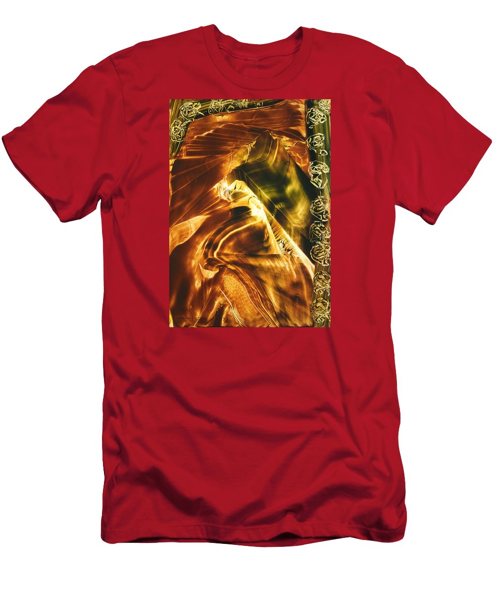 Abstract Men's T-Shirt (Athletic Fit) featuring the painting Secrets Of Mountains by Nikolay Malafeev