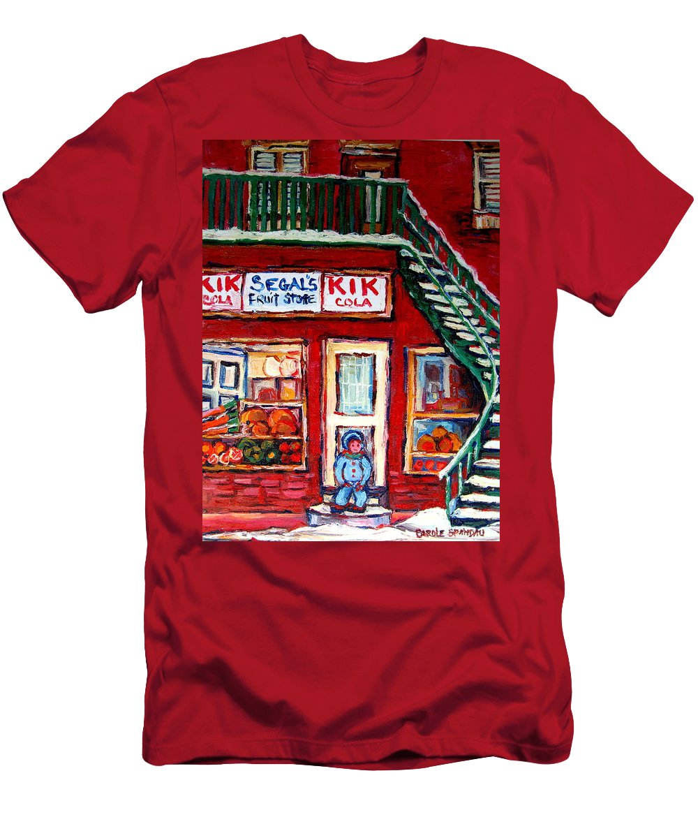 Segal Men's T-Shirt (Athletic Fit) featuring the painting Segal's Market St.lawrence Boulevard Montreal by Carole Spandau