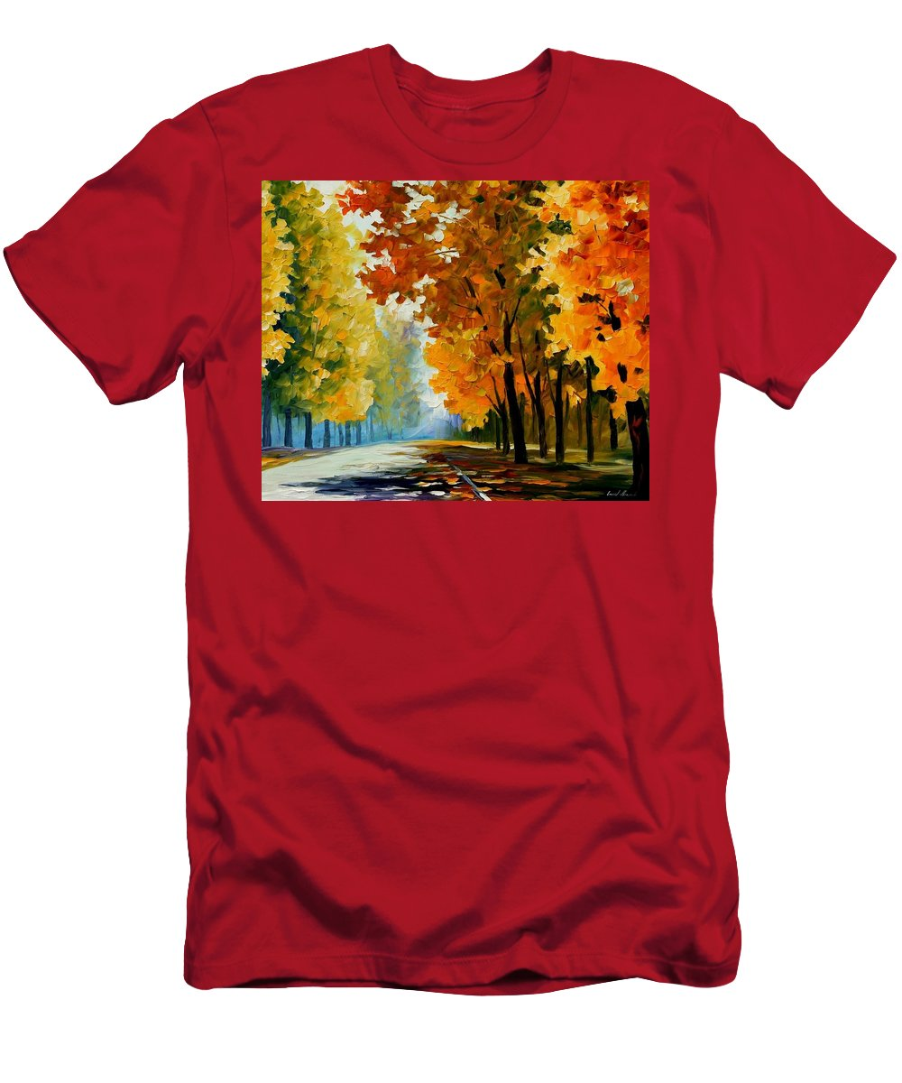 Afremov Men's T-Shirt (Athletic Fit) featuring the painting September Morning by Leonid Afremov