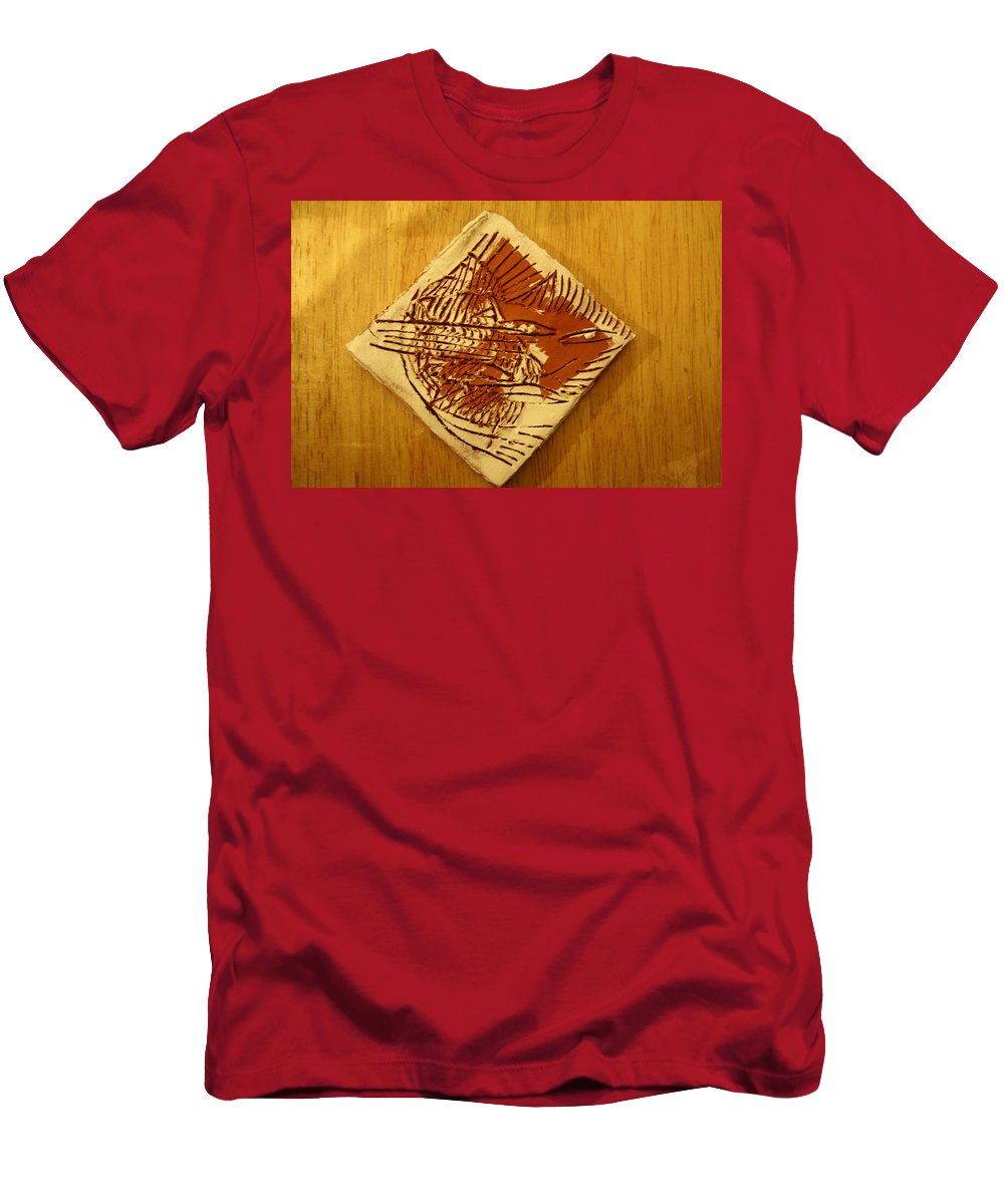 Jesus Men's T-Shirt (Athletic Fit) featuring the ceramic art Shadows - Tile by Gloria Ssali
