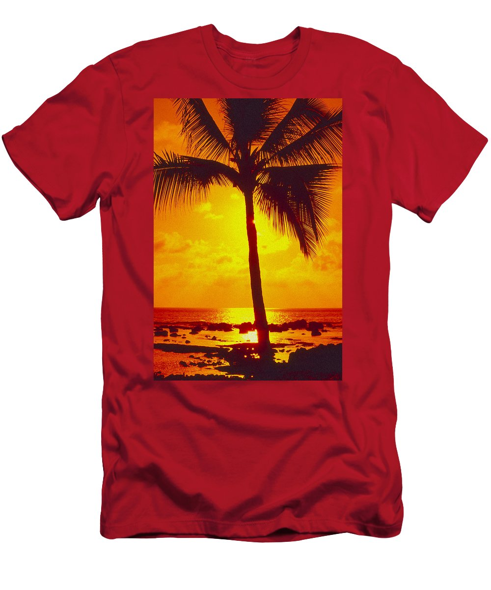 Bright Men's T-Shirt (Athletic Fit) featuring the photograph Silhouetted Palm by Ron Dahlquist - Printscapes