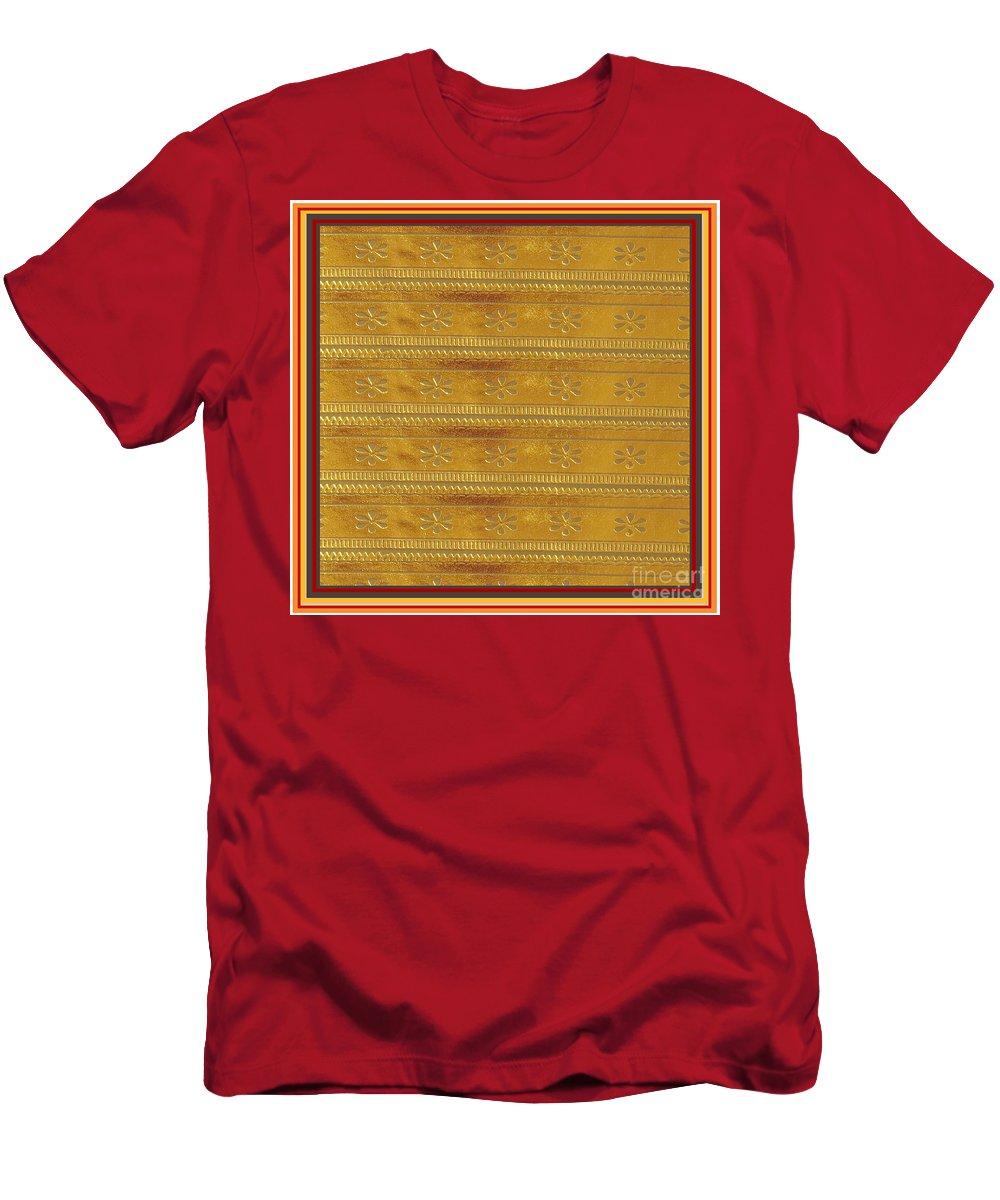 Gold Men's T-Shirt (Athletic Fit) featuring the digital art Silken Gold Border Stripes With Jewel Imprint Elegant Border Energy Healing Art By Navinjoshi Finear by Navin Joshi