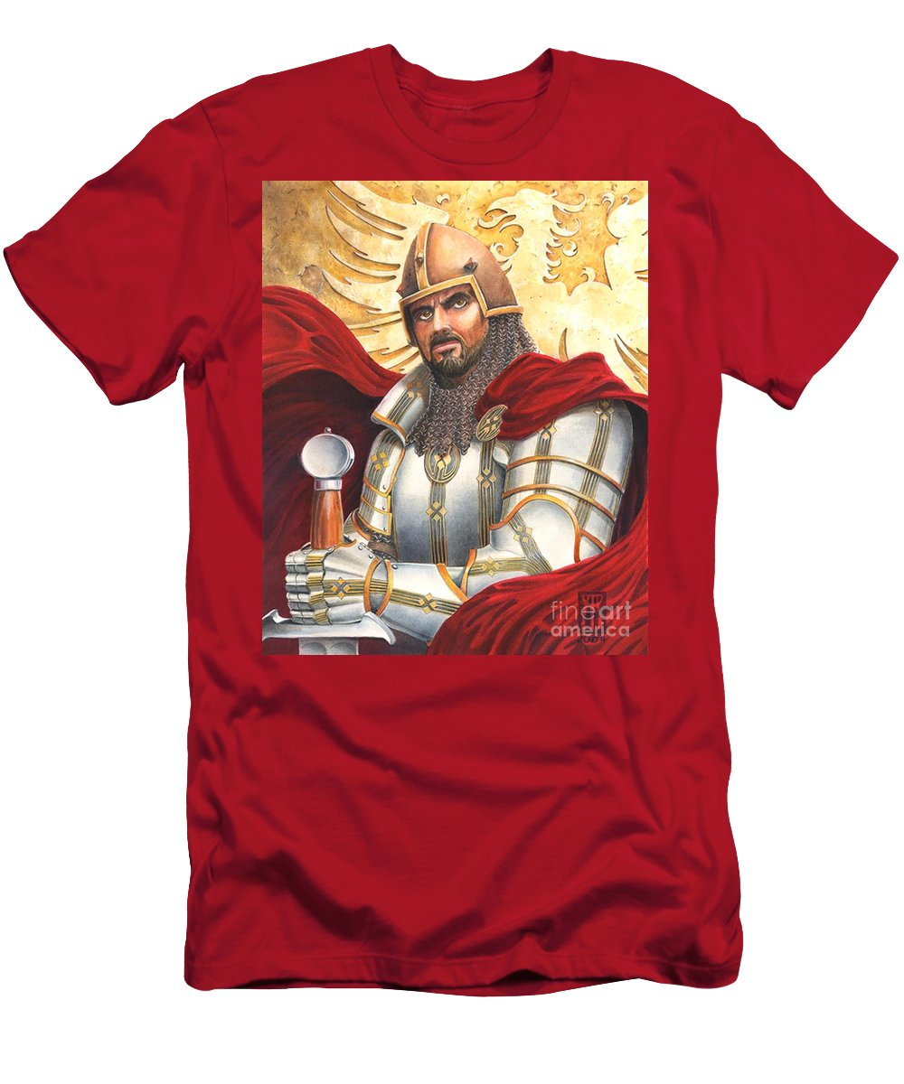 Swords Men's T-Shirt (Athletic Fit) featuring the drawing Sir Gawain by Melissa A Benson