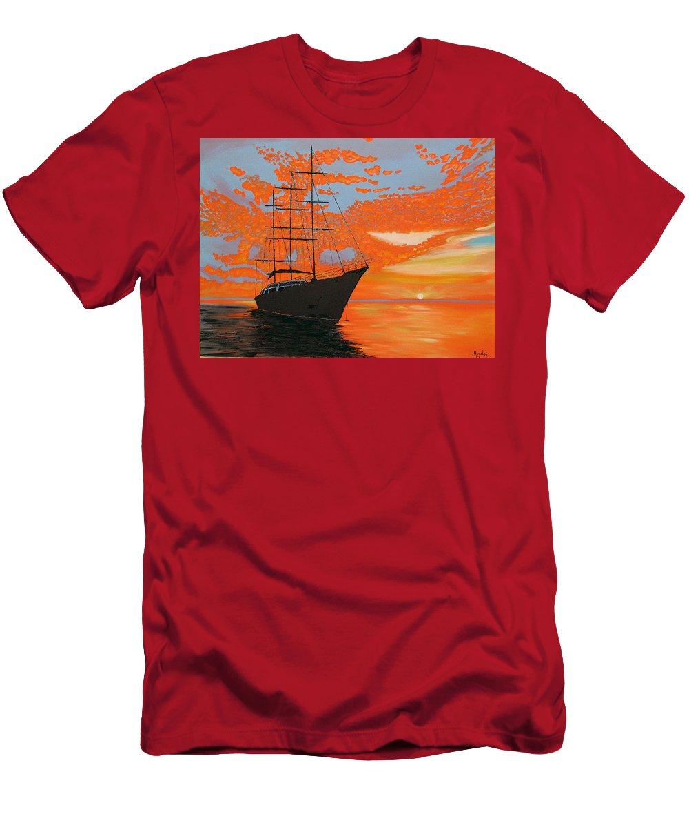 Seascape T-Shirt featuring the painting Sittin' on the Bay by Marco Morales