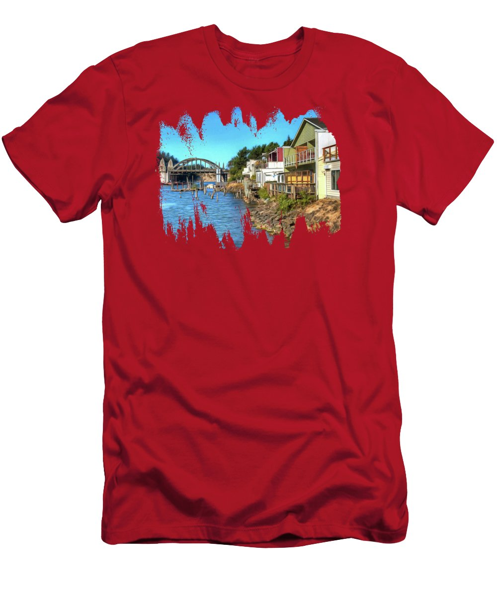 Siuslaw Riverfront Men's T-Shirt (Athletic Fit) featuring the photograph Gorgeous Siuslaw Riverfront by Thom Zehrfeld