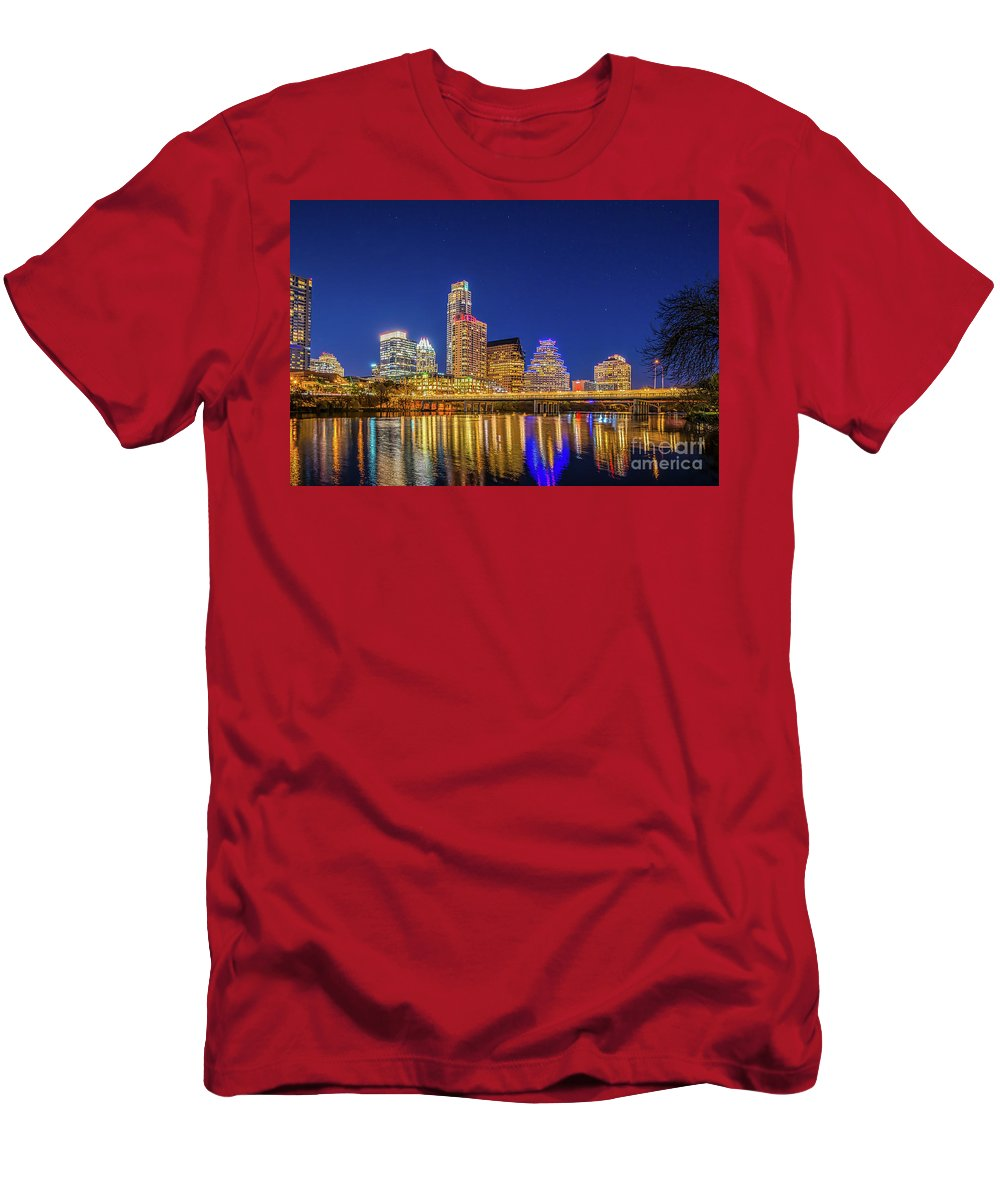 Austin Men's T-Shirt (Athletic Fit) featuring the photograph Skyline Of Downtown Austin by Tod and Cynthia Grubbs