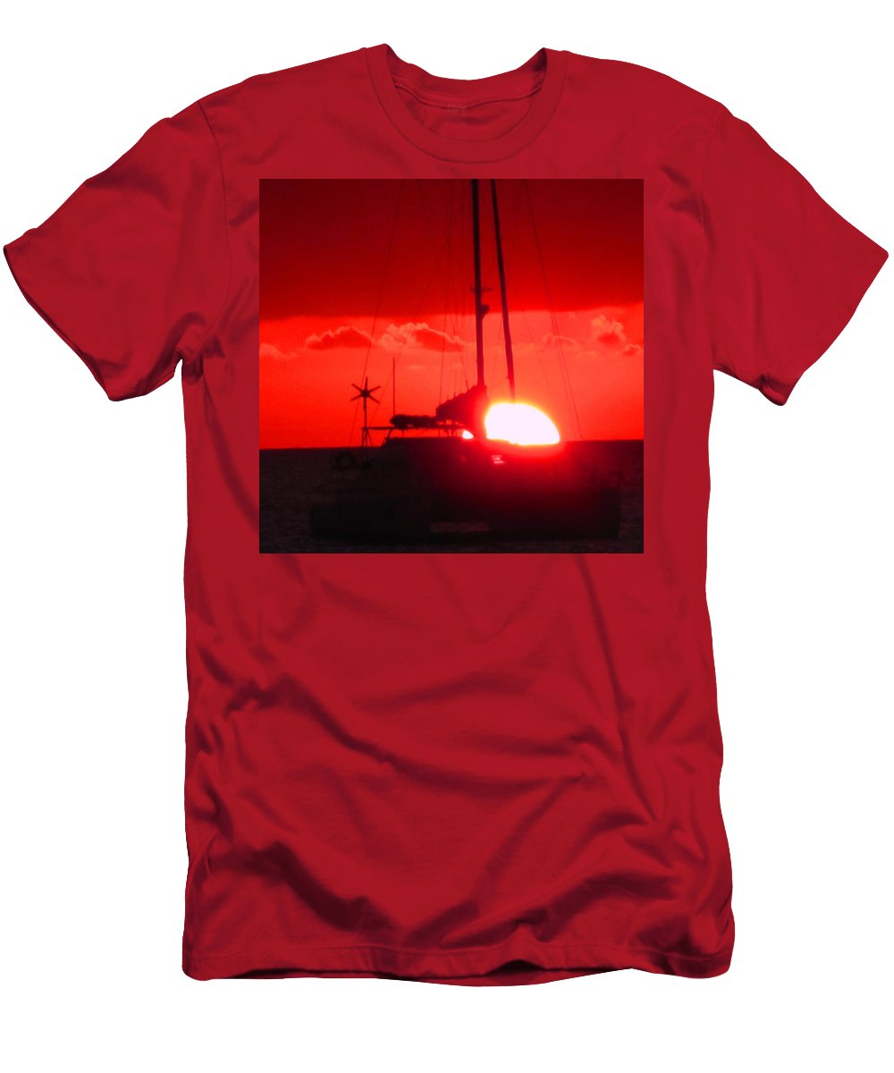 Sunset Men's T-Shirt (Athletic Fit) featuring the photograph Slipping Over The Edge by Ian MacDonald