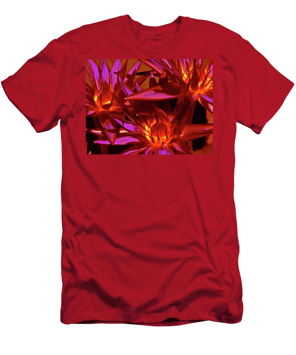 Lilies Men's T-Shirt (Athletic Fit) featuring the photograph Smoldering Lilies by Cathi Abbiss Crane