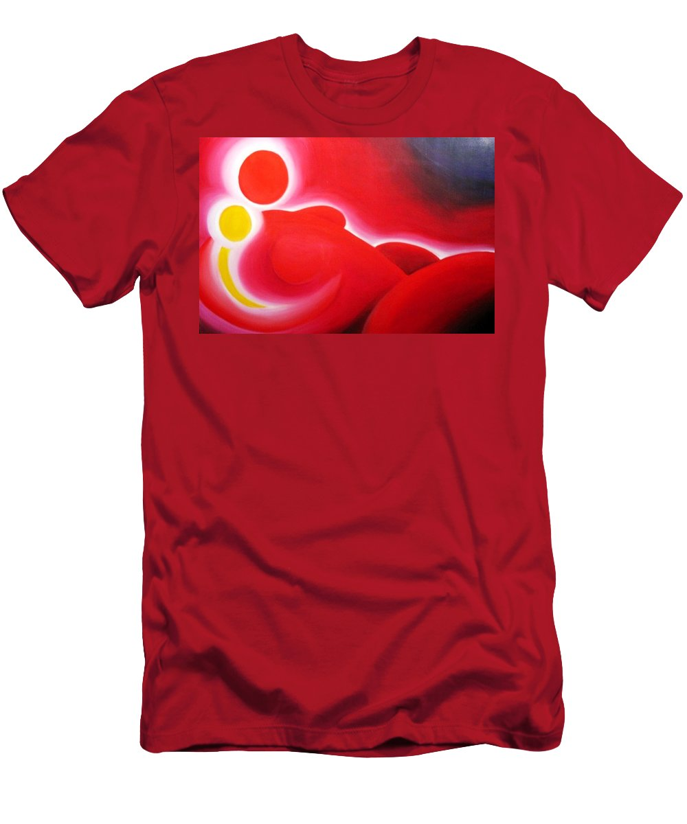 Red Men's T-Shirt (Athletic Fit) featuring the painting Snuggle Time by Jennifer Hannigan-Green