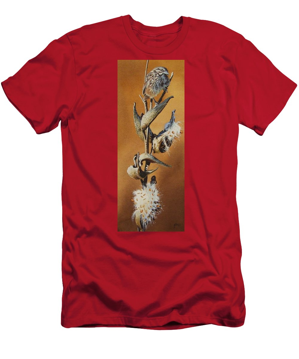 Songsparrow Men's T-Shirt (Athletic Fit) featuring the painting Song Sparrow And Milkweed by Greg and Linda Halom
