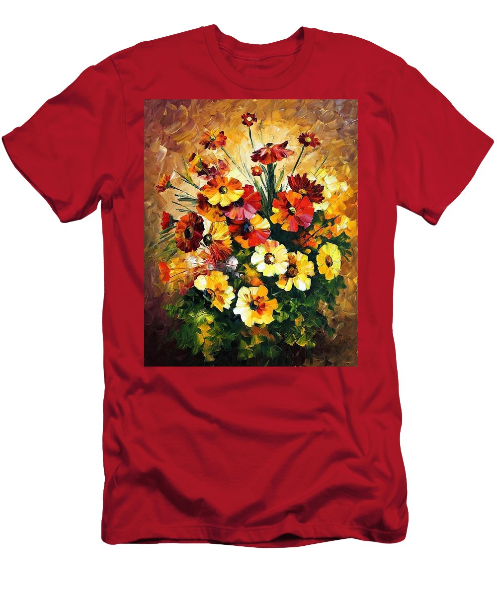 Afremov Men's T-Shirt (Athletic Fit) featuring the painting Songs Of My Heart by Leonid Afremov