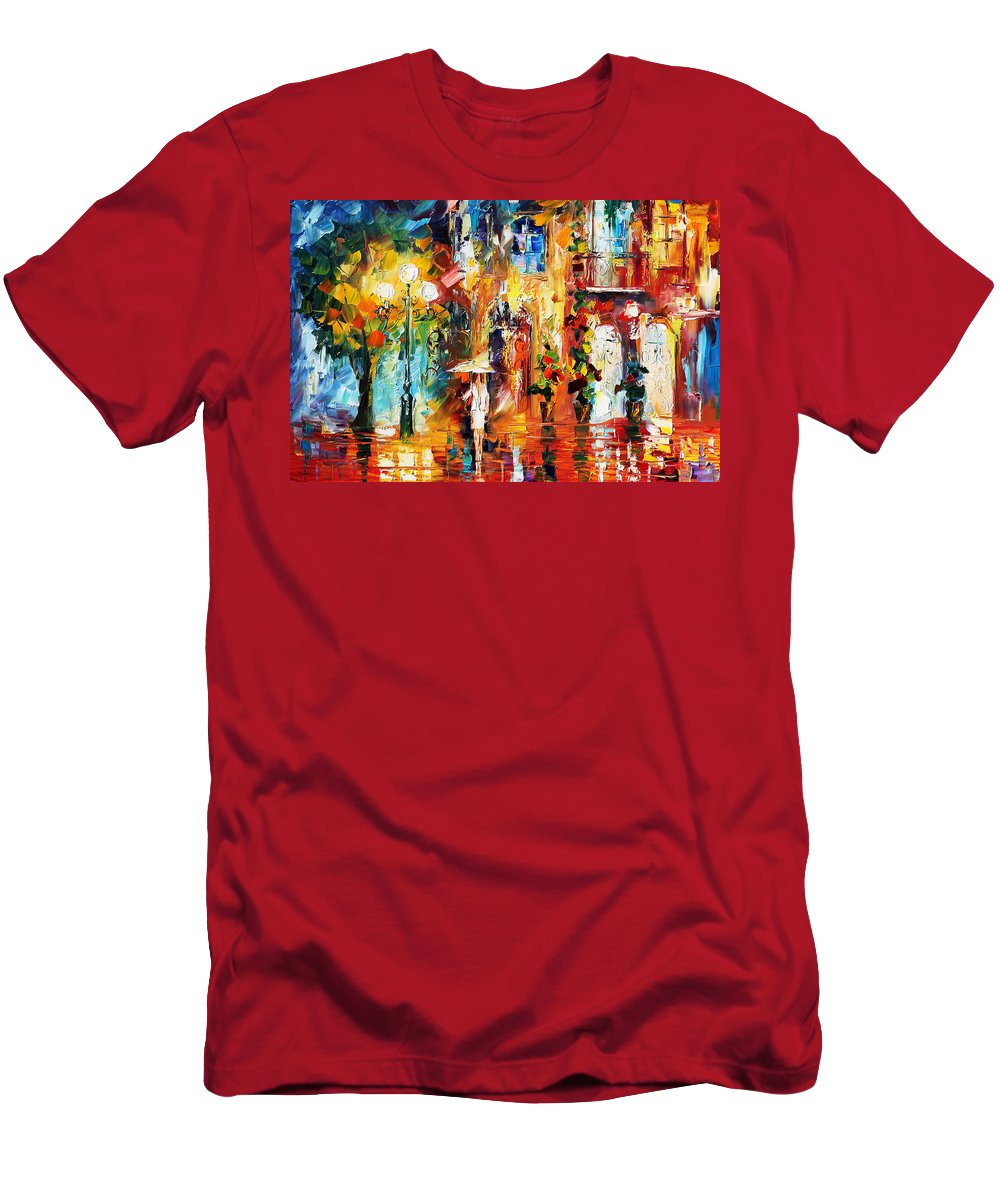 Afremov Men's T-Shirt (Athletic Fit) featuring the painting Special Rain by Leonid Afremov