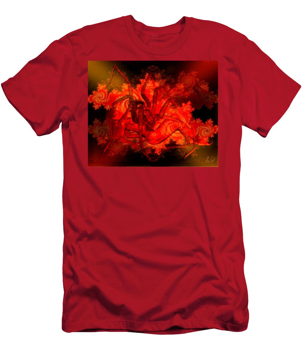 Spider Men's T-Shirt (Athletic Fit) featuring the digital art Spider Catches Virgin In Space by Helmut Rottler